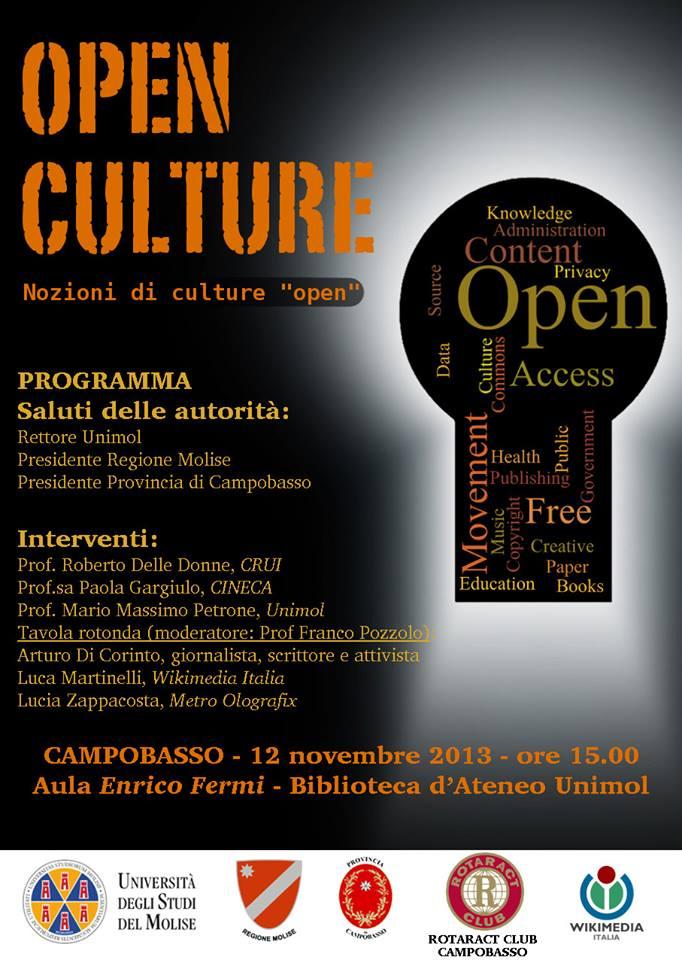 Seminario Open Culture sull'accesso libero ai saperi