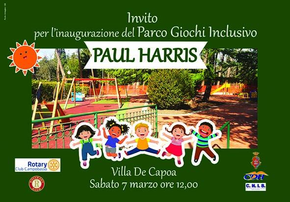 Il parco giochi inclusivo Paul Harris sarà inaugurato sabato 7 marzo 2020 in Villa de Capoa a Campobasso